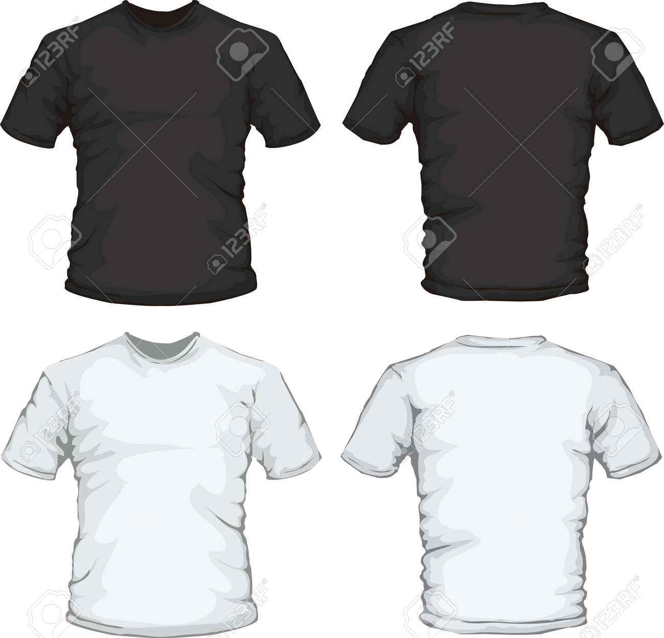Black t shirt design template - Vector Vector Illustration Of Black And White Male Shirt Design Template