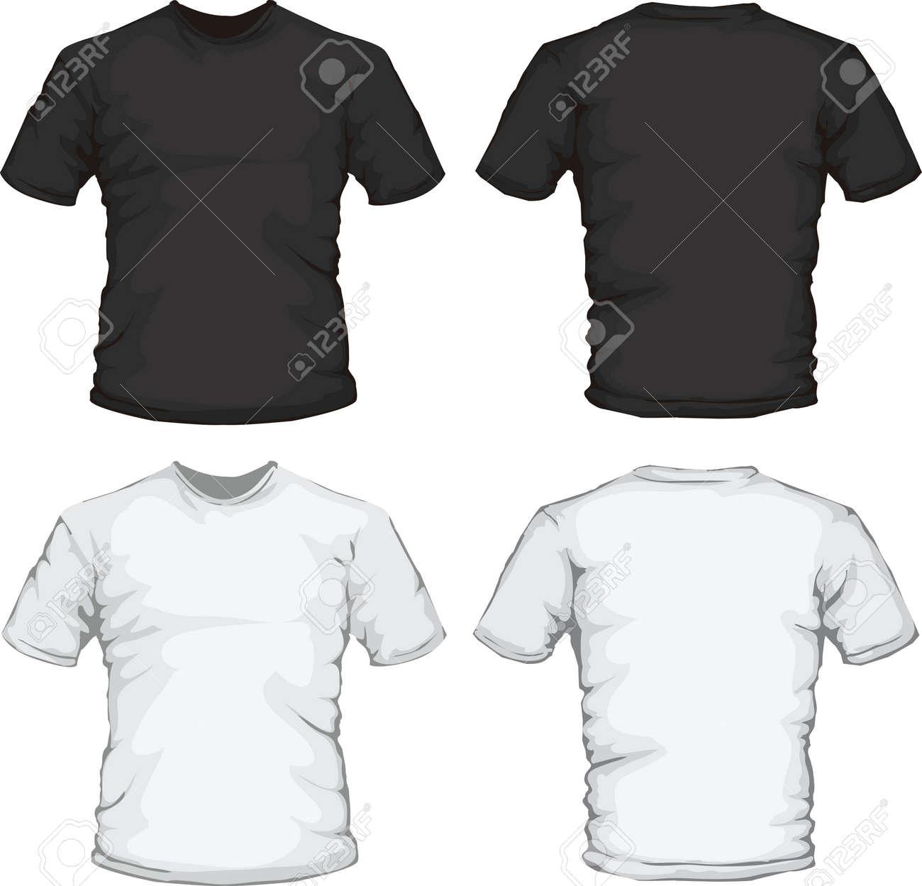 Shirt design white - Vector Vector Illustration Of Black And White Male Shirt Design Template