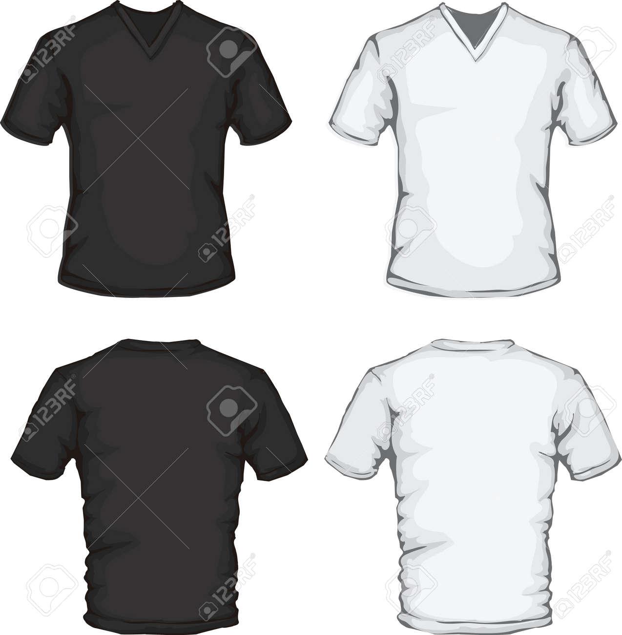 Vector Illustration Of V-neck Shirt Template In Black And White ...