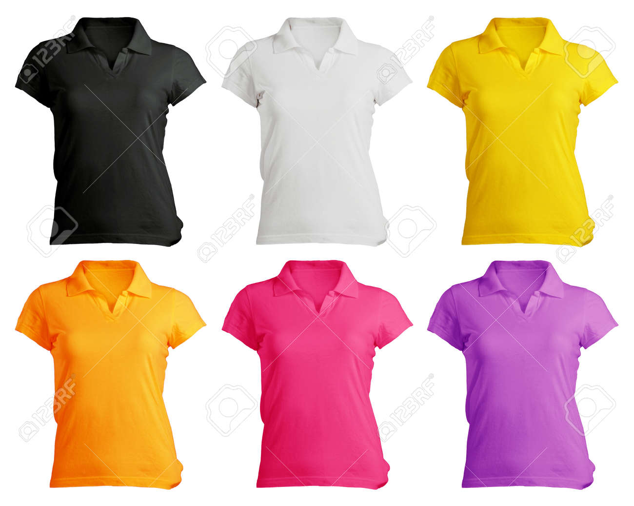 Women S Polo Shirt Template In Colors Stock Photo, Picture And ...