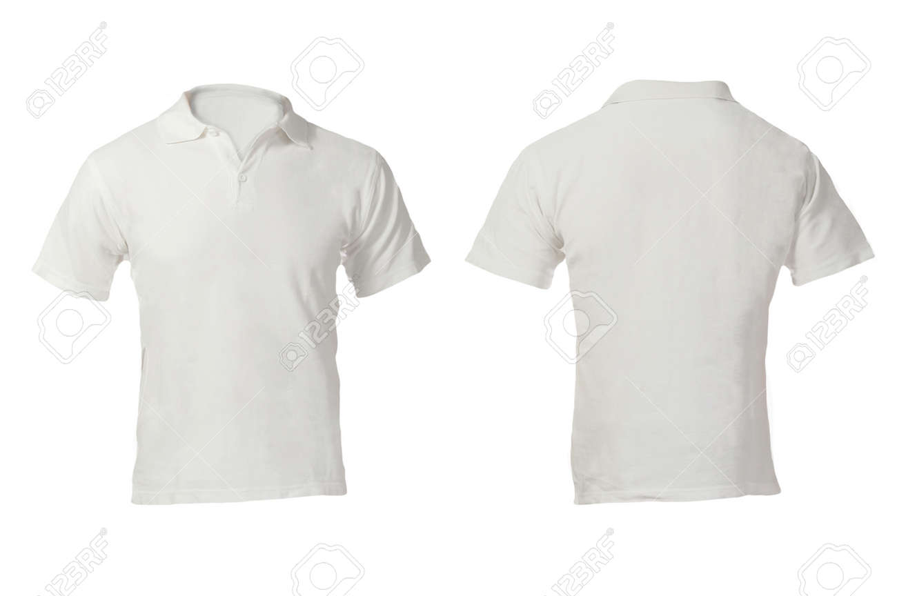 White t shirt front and back template - Men S Blank White Polo Shirt Front And Back Design Template Stock Photo 24614771