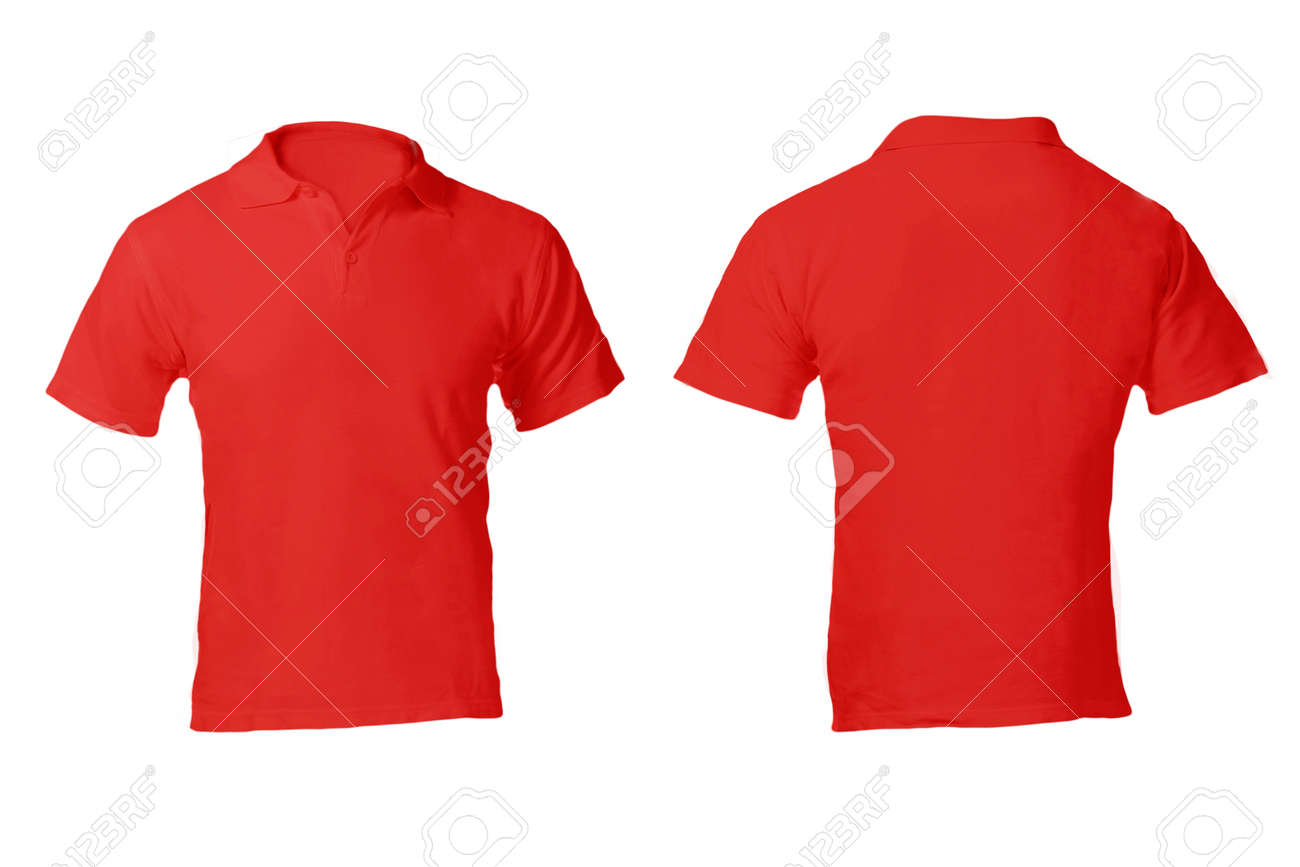Men\'s Blank Red Polo Shirt, Front And Back Design Template Stock ...