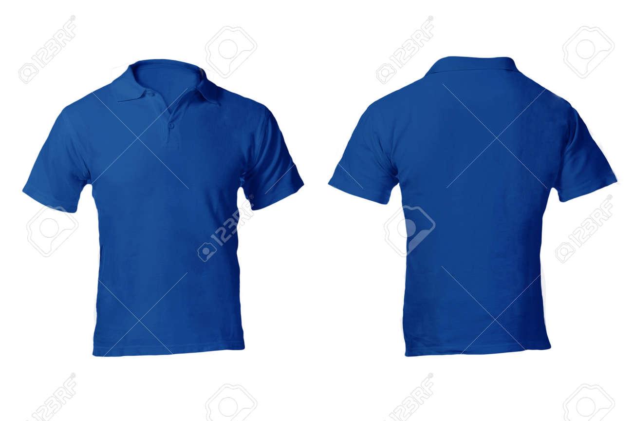 En Blanco Camisa Azul Polo Masculino, Frente Y Parte Posterior ...