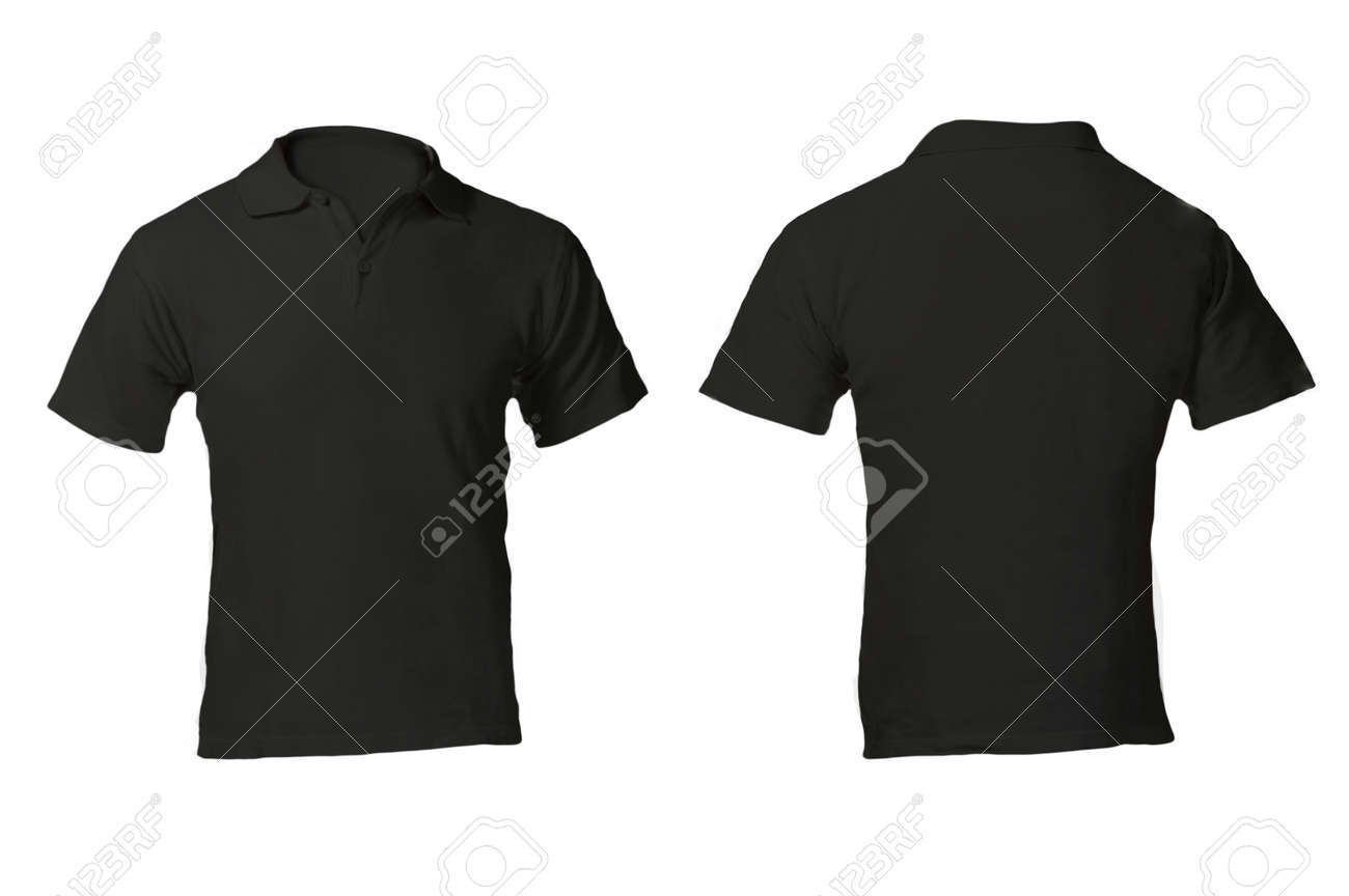 Mens Blank Black Polo Shirt Front And Back Design Template Stock