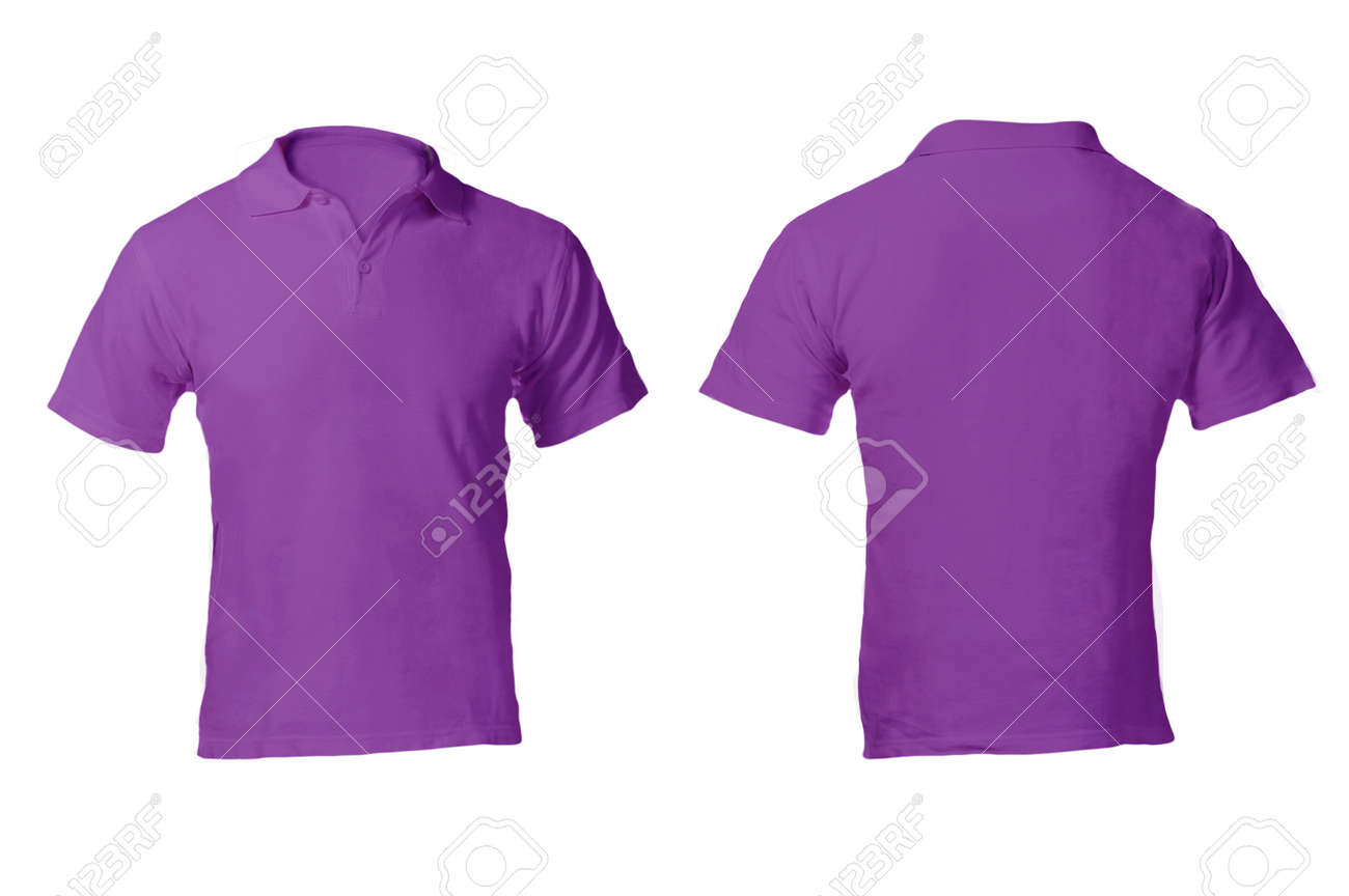 Mens Blank Purple Polo Shirt Front And Back Design Template Stock