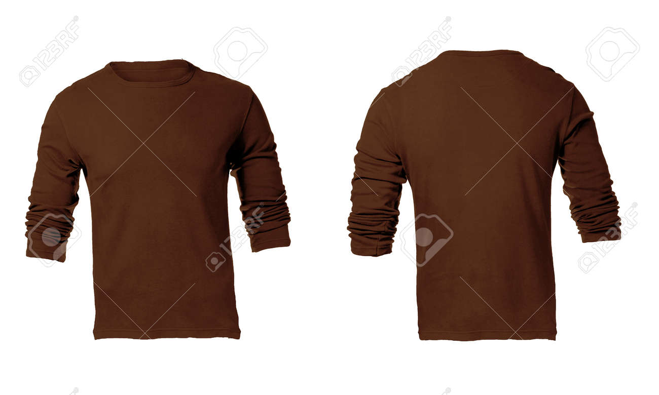 Mens Blank Brown Long Sleeved Shirt Front And Back Design Template