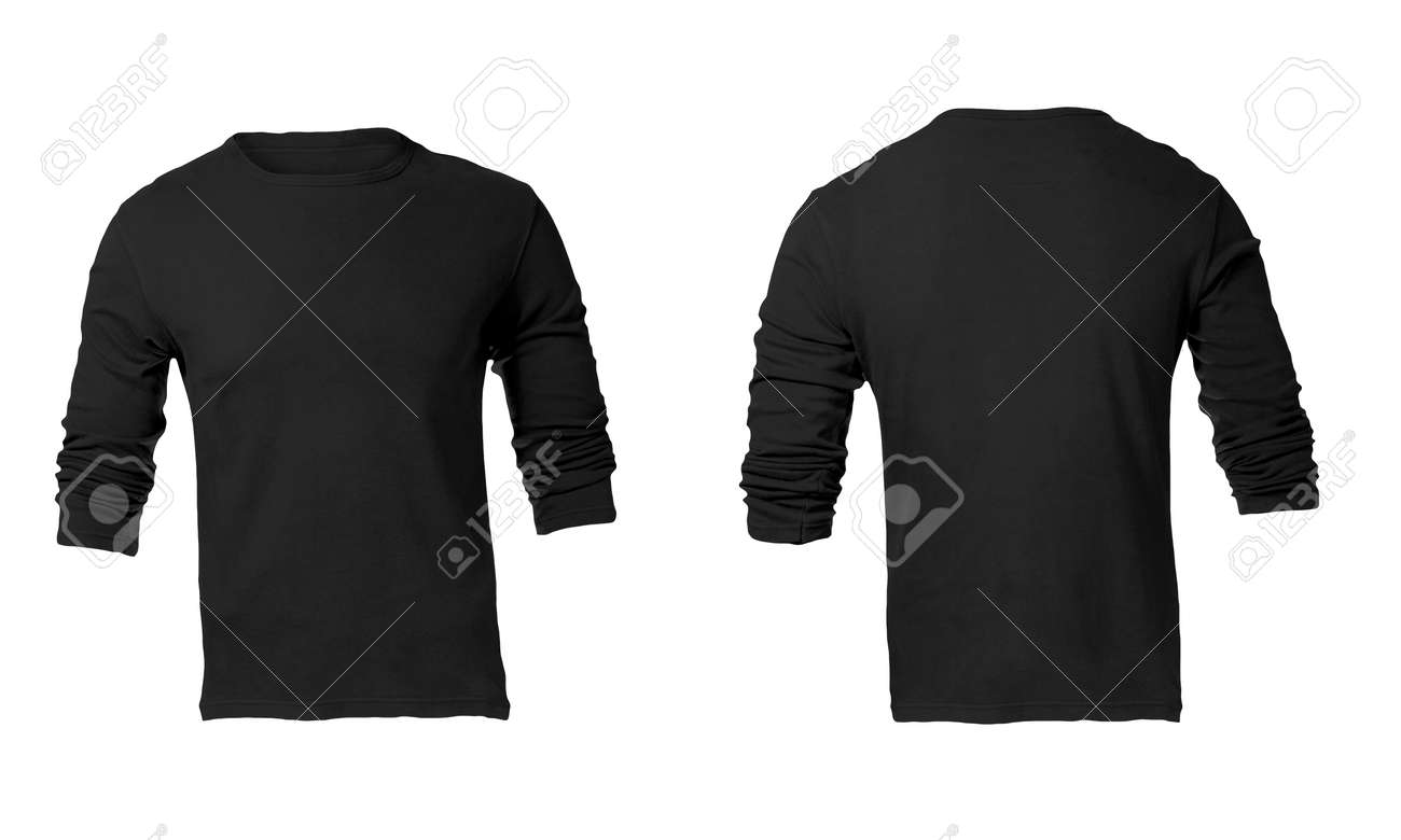 Blank black t shirt front and back - Men S Blank Black Long Sleeved Shirt Front And Back Design Template Stock Photo 24614810