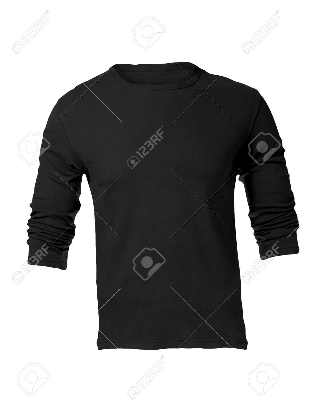 Mens Blank Black Long Sleeved Shirt Front Design Template Stock Photo