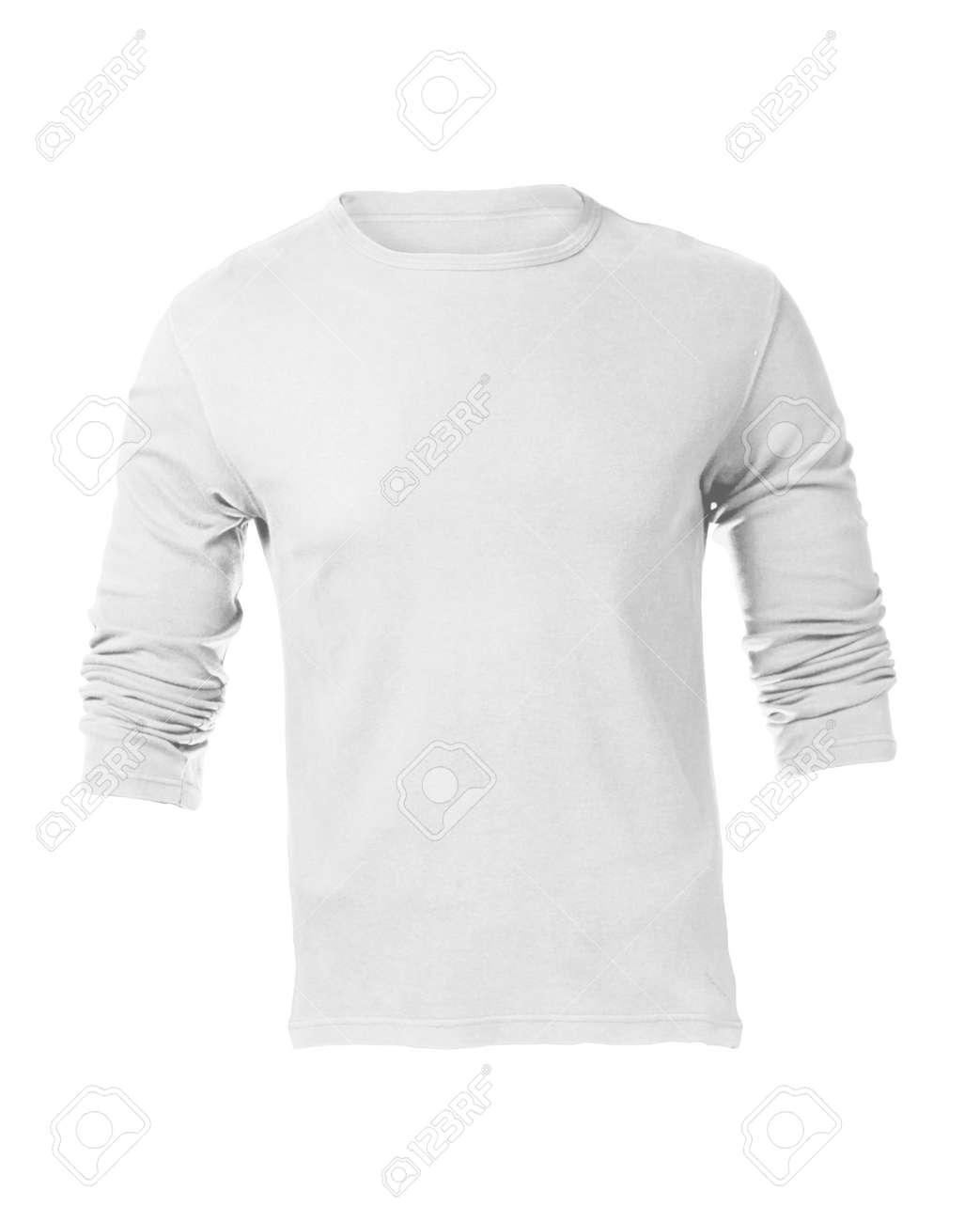 Herren Leere Weiße Langarm-Shirt, Vorder Design-Vorlage Lizenzfreie ...