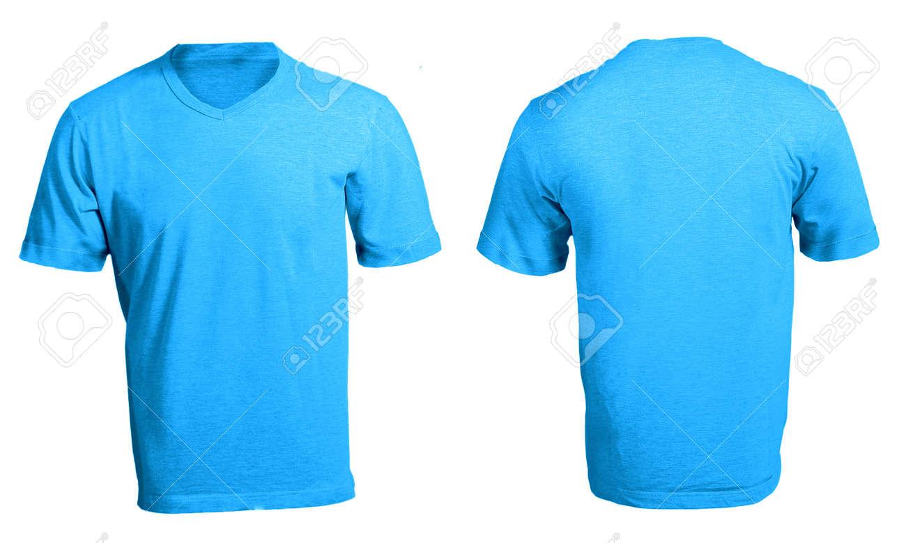 Men\'s Blank Blue V-Neck Shirt, Front And Back Design Template Stock ...