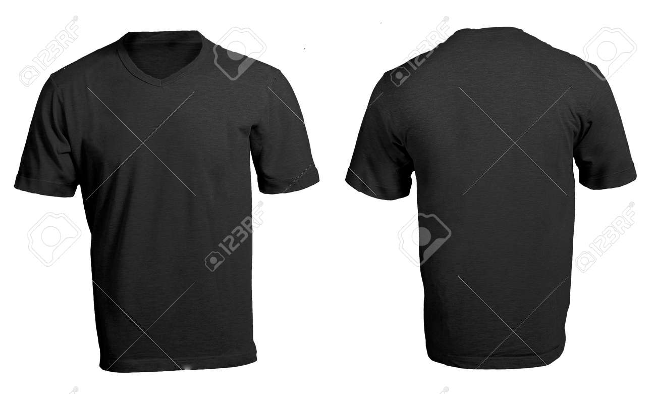 Men\'s Blank Black V-Neck Shirt, Front And Back Design Template Stock ...