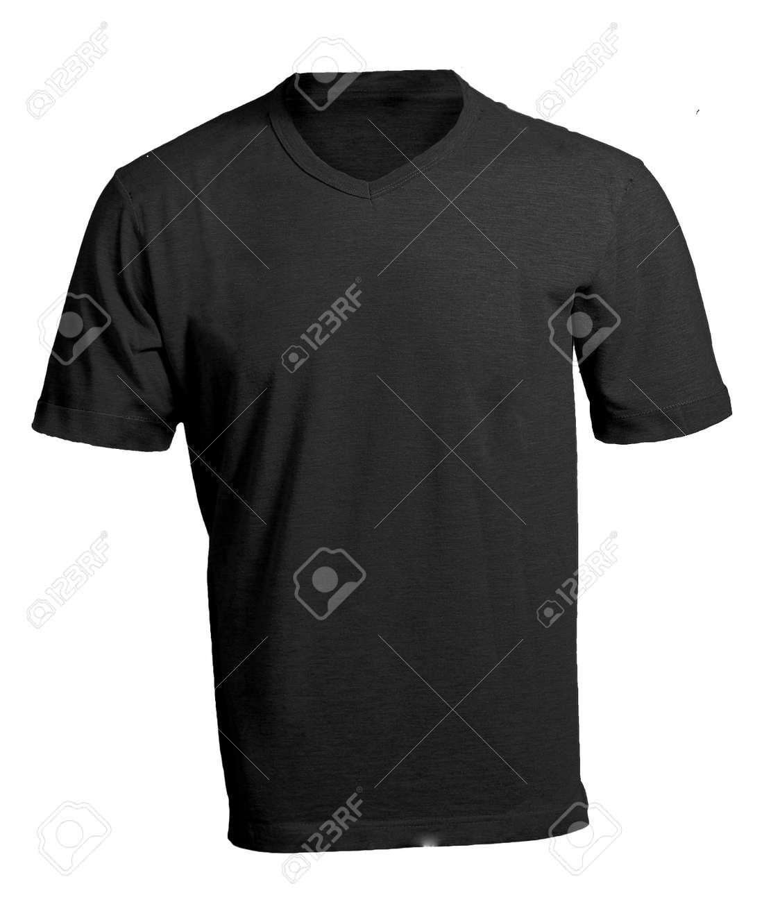 Men\'s Blank Black V-Neck Shirt, Front Design Template Stock Photo ...