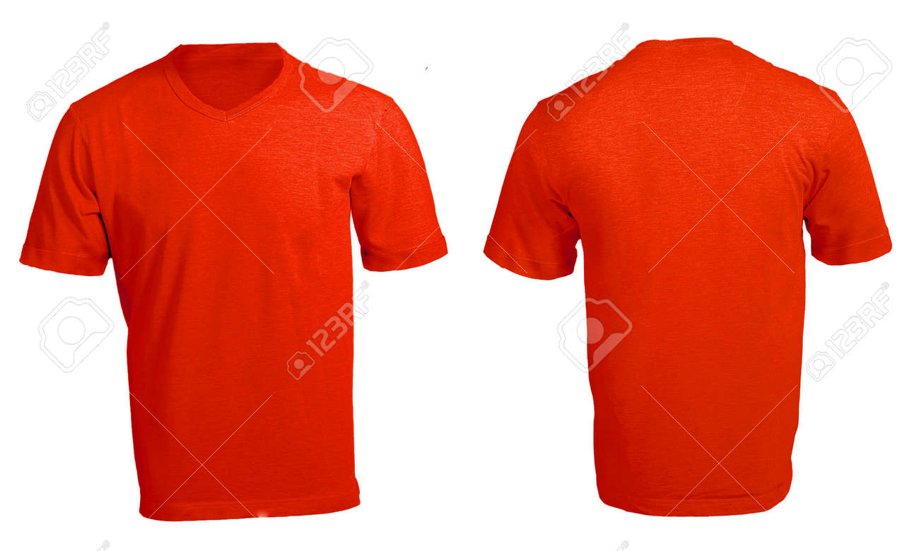 Men\'s Blank Red V-Neck Shirt, Front And Back Design Template Stock ...