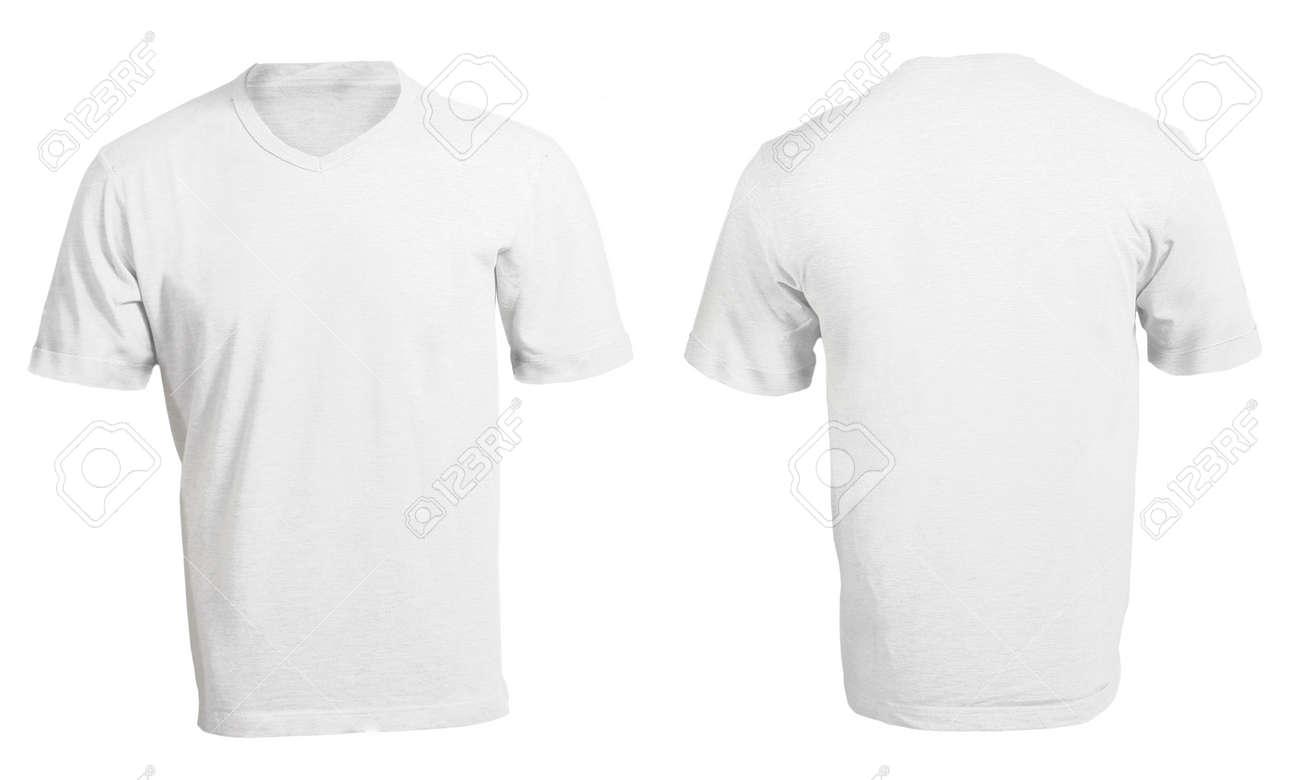 Men\'s Blank White V-Neck Shirt, Front And Back Design Template Stock ...