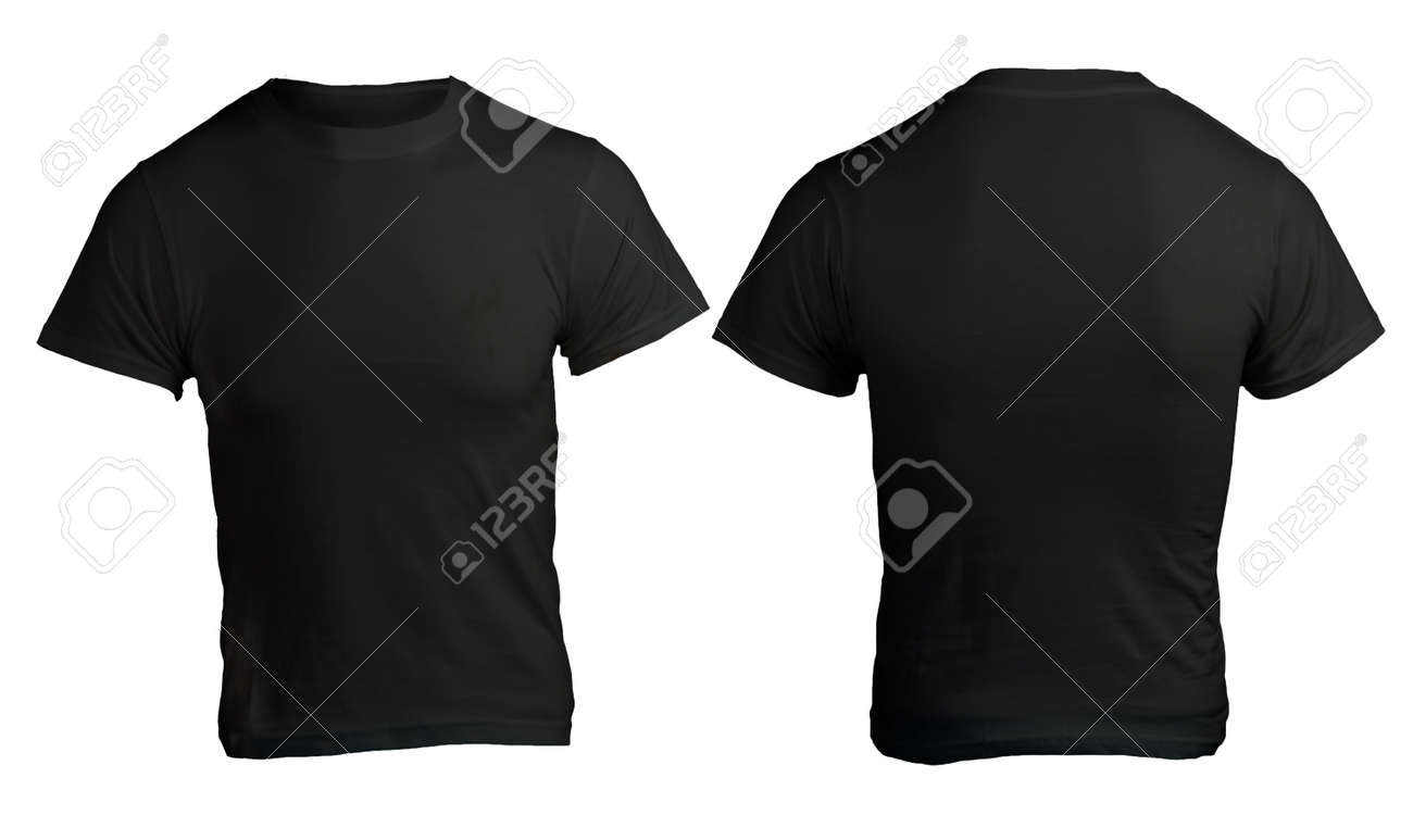 Men's Blank Black Shirt, Front And Back Design Template Stock ...