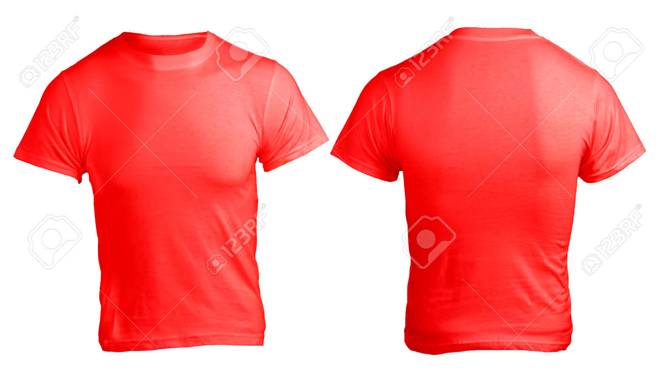 Shirt design red - Men S Blank Red Shirt Front And Back Design Template Stock Photo 24614845