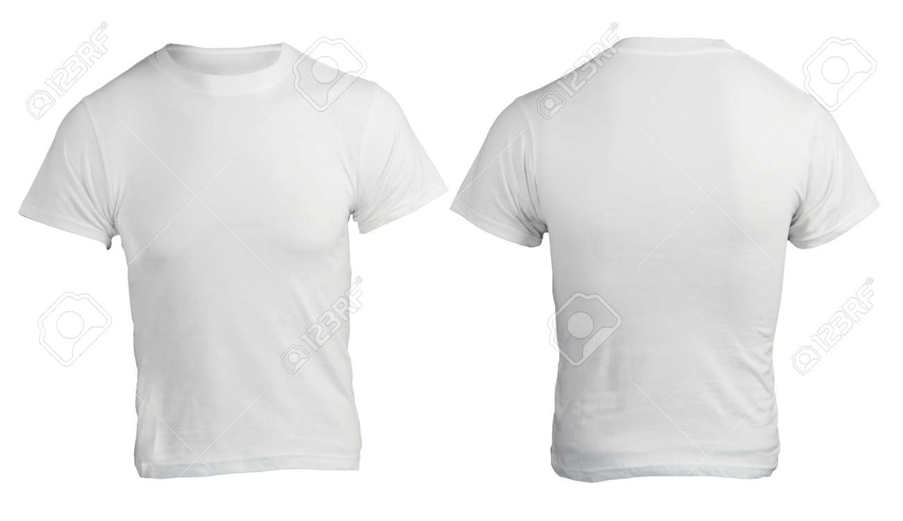 Men's Blank White Shirt, Front And Back Design Template Stock ...