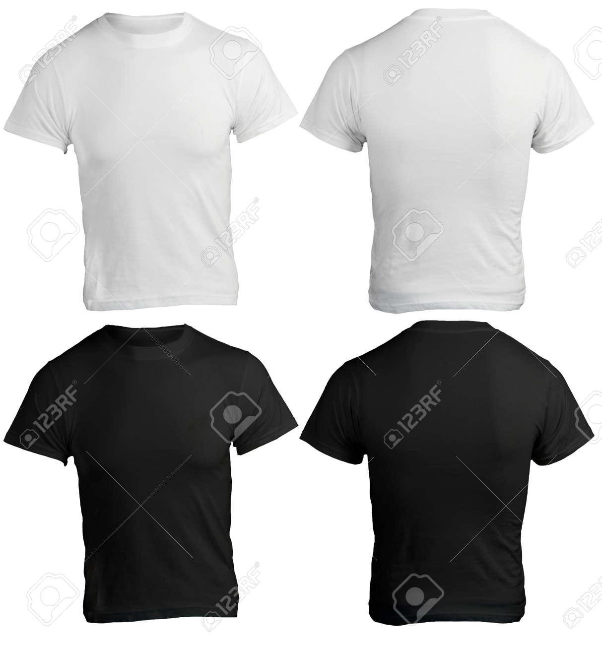 T shirt black and white designs - Men S Blank Black And White Shirt Front And Back Design Template Stock Photo 24614849