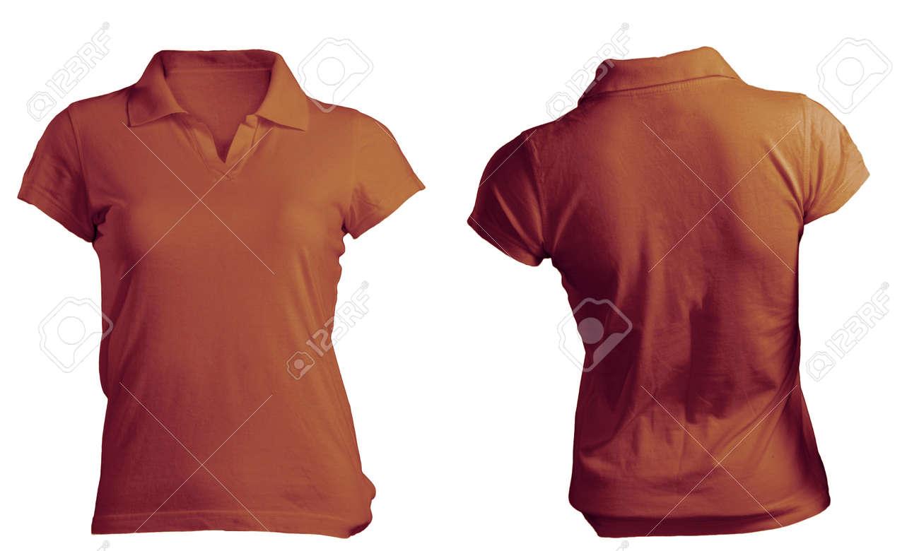 a63fda8fcbdf Stock Photo - Women's Blank Brown Polo Shirt, Front and Back Design Template