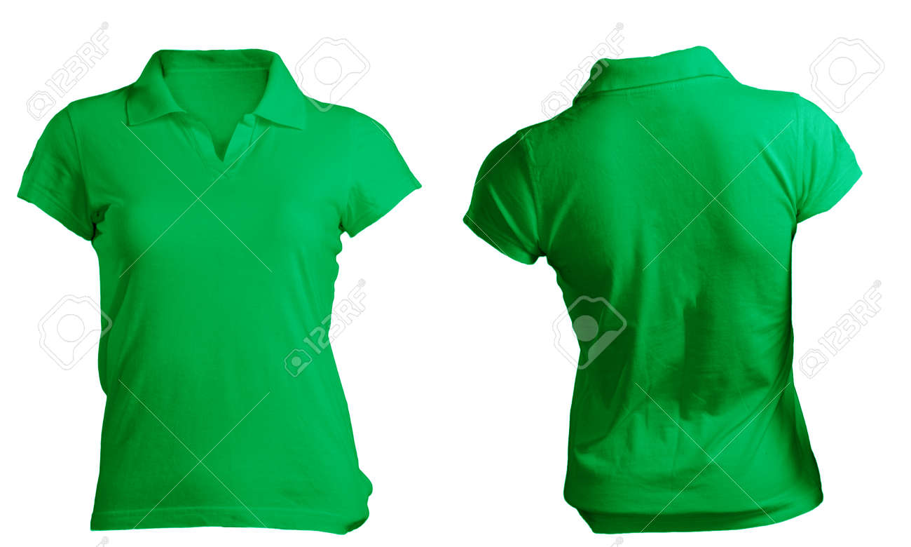 Shirt design green - Green Shirt Womens Blank Green Polo Shirt Front And Back Design Template