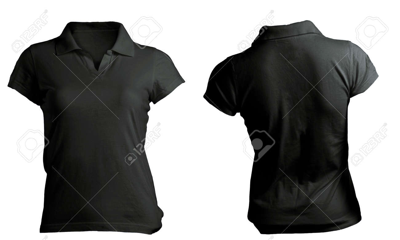 Black t shirt front and back plain - Stock Photo Women S Blank Black Polo Shirt Front And Back Design Template