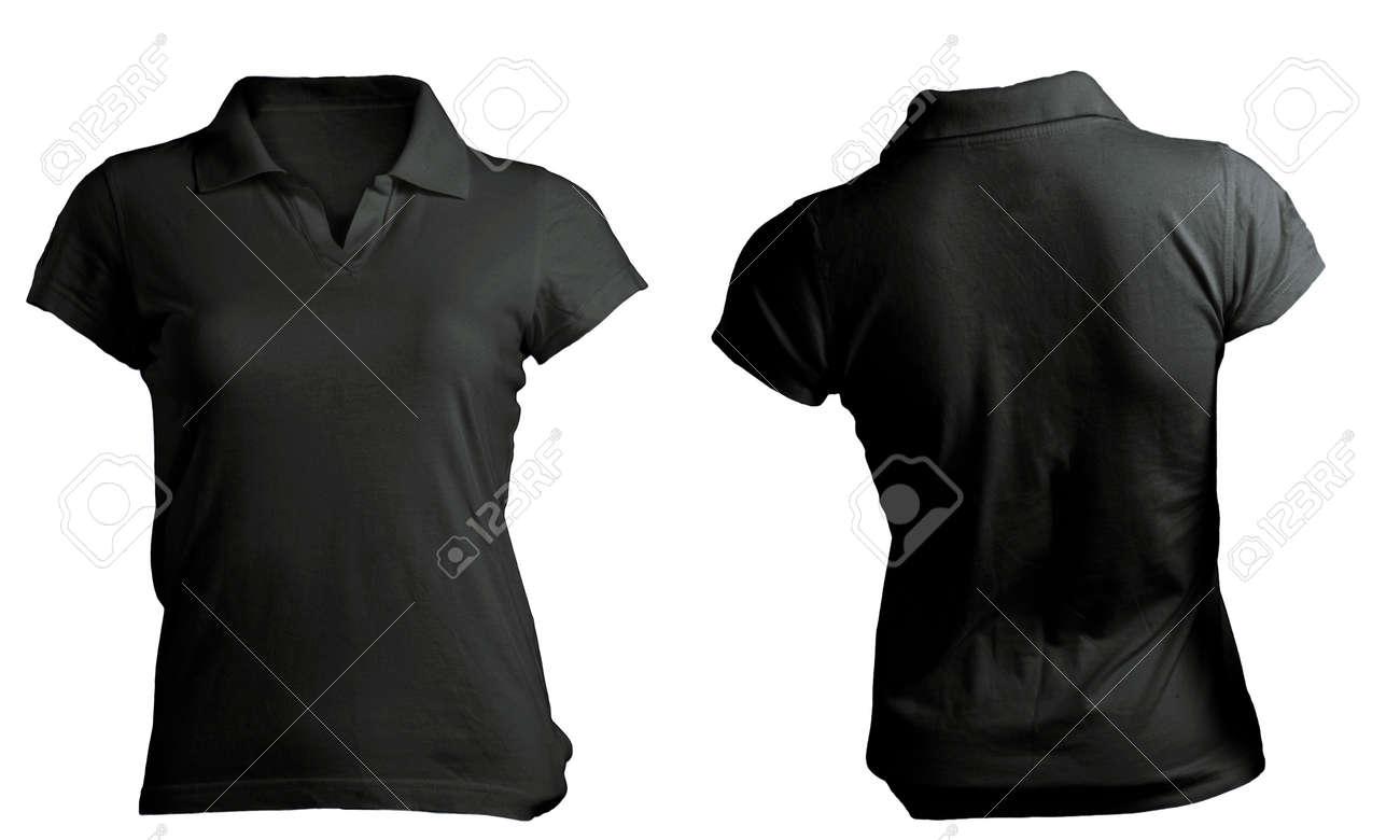 Stock Photo - Women s Blank Black Polo Shirt d1381d0ee7