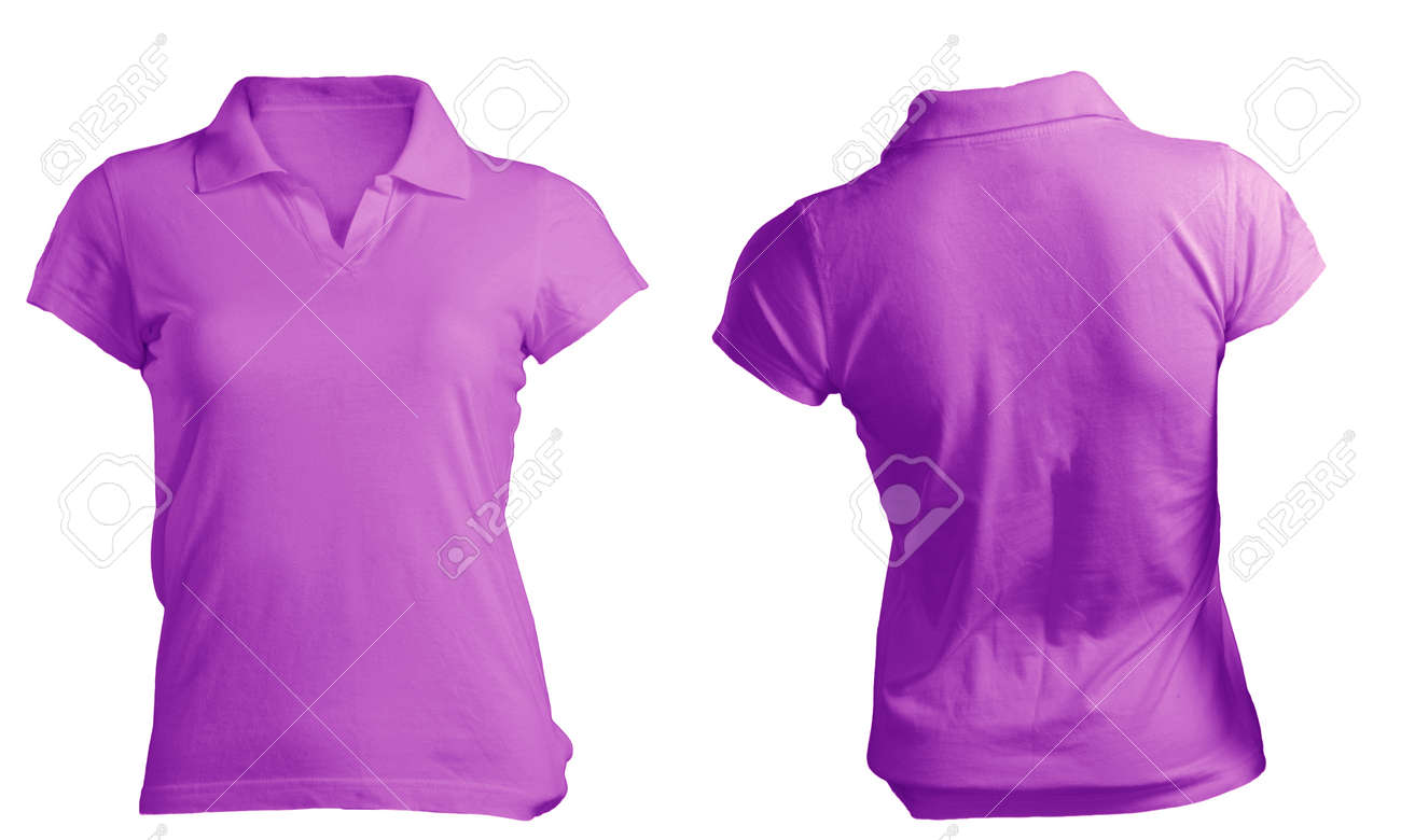 Womens Blank Purple Polo Shirt Front And Back Design Template