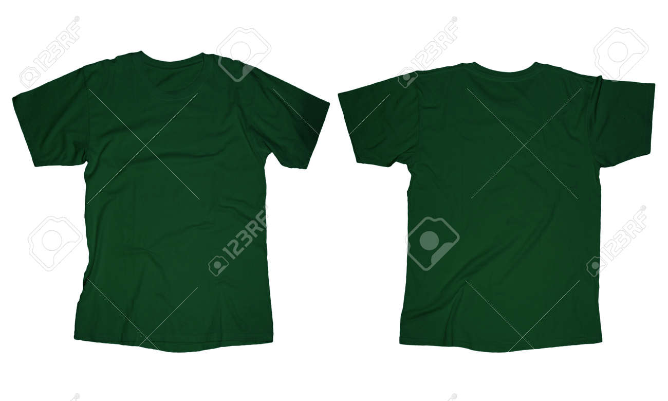 Wrinkled Blank Dark Green T-shirt Template, Front And Back Design ...