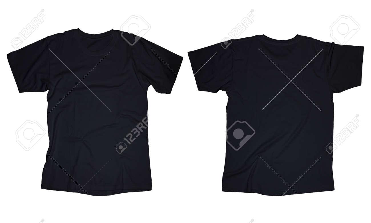 Kantige Leere Schwarze T-Shirt-Vorlage, Vorne Und Hinten Design ...