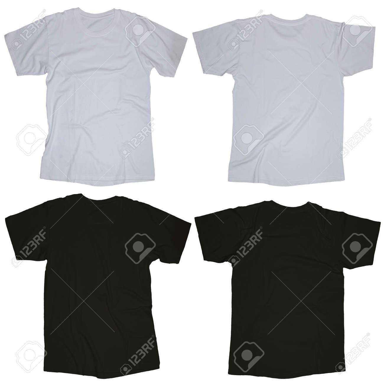 Kantige Leere Schwarze Und Weiße Leere T-Shirt-Vorlage, Vorne Und ...