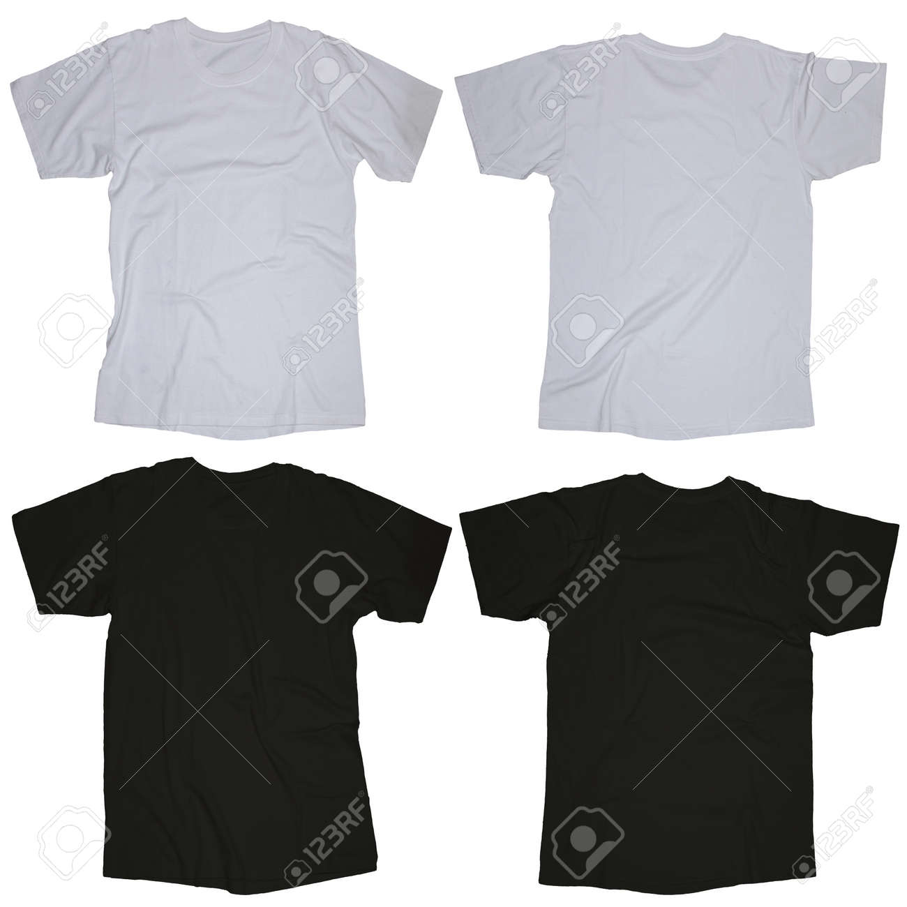 Wrinkled Blank Black And White Blank T Shirt Template Front Stock