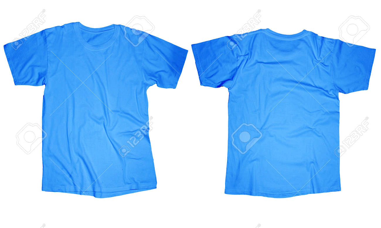 Wrinkled Blank Light Blue T Shirt Template Front And Back Design