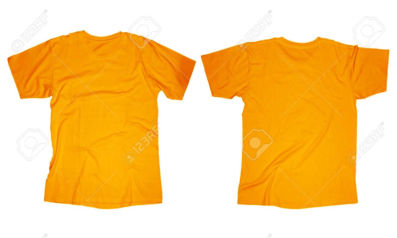 Kantige Leere Orange T-Shirt-Vorlage, Vorne Und Hinten Design ...
