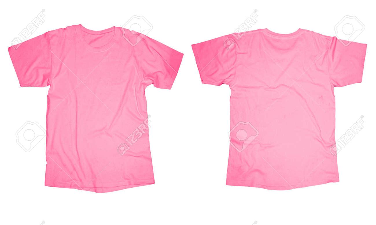 Wrinkled Leere Rosa T-Shirt-Vorlage, Vorder-und Rückseite Design ...