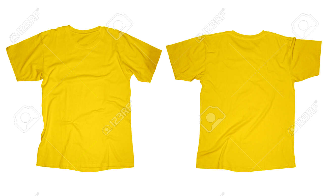 Wrinkled Blank Yellow T-shirt Template, Front And Back Design ...