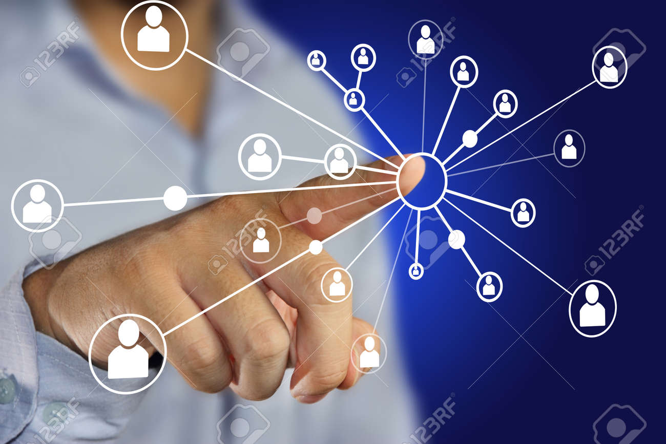 Modern Business Concept Image Of A Businessman Clicking People ...