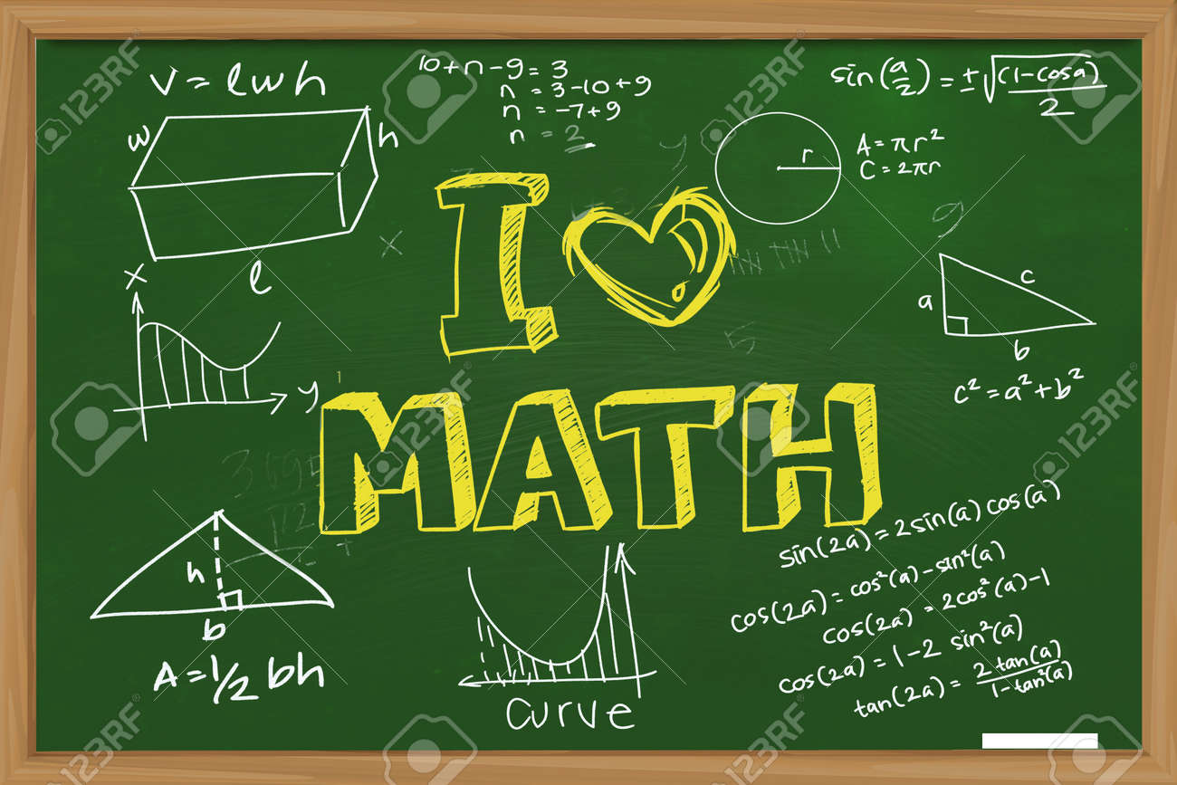 educational concept the words i love math with mathematics formula