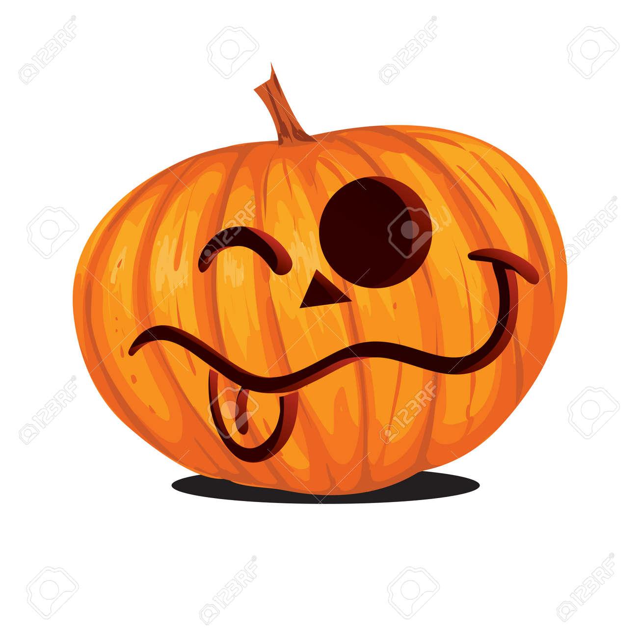 Vector illustration of Jack o Lantern Halloween Pumpkin in cartoon..