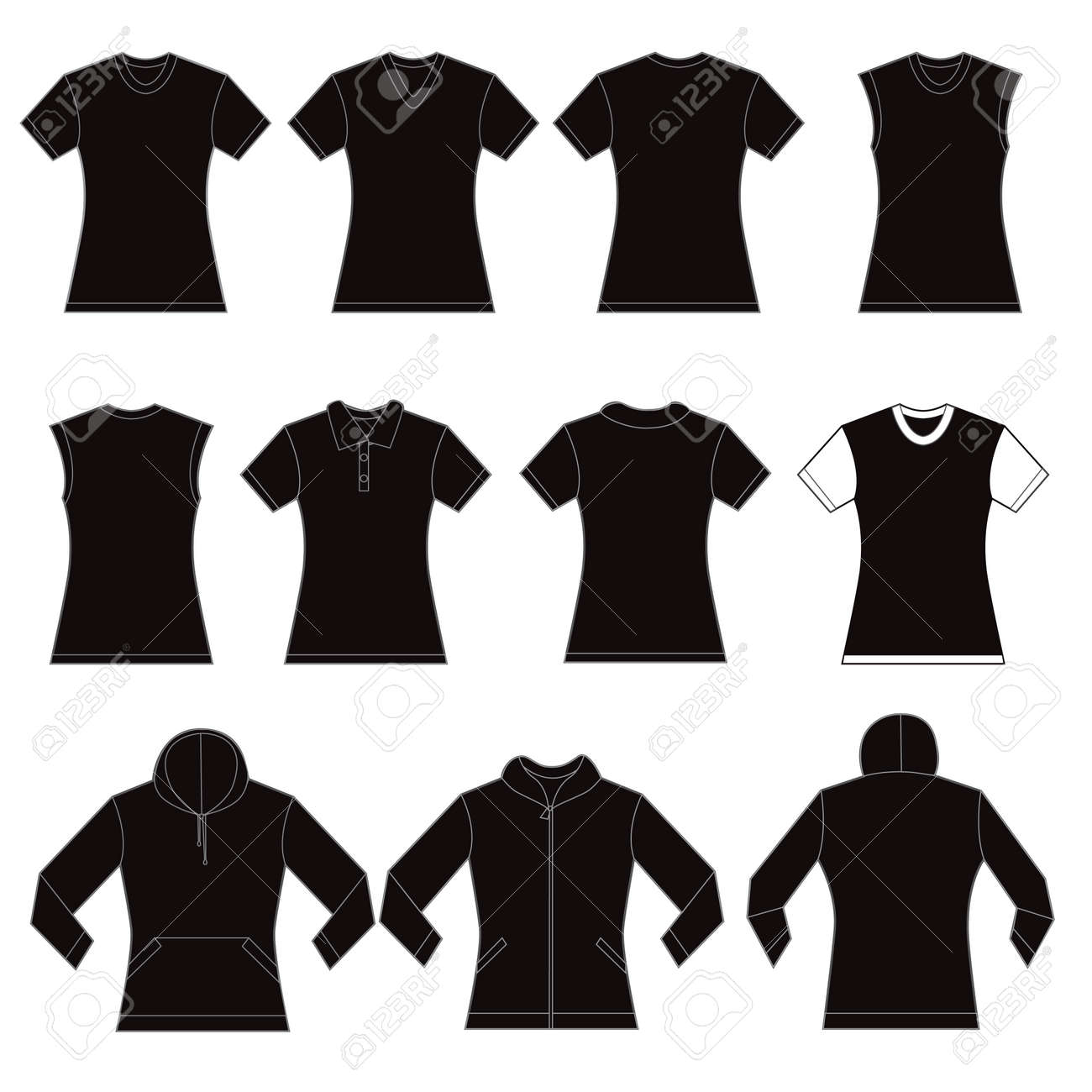 Set Of Black Female Shirt Template Designs Royalty Free Cliparts