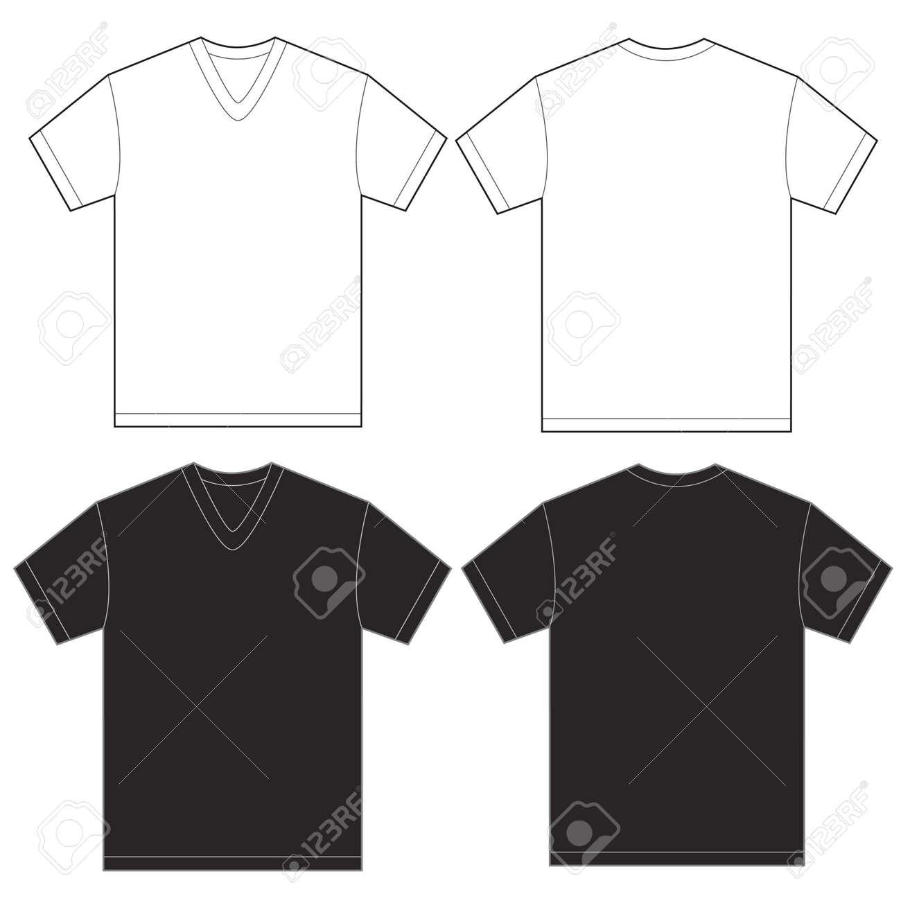 Vector Illustration Of Black And White V-neck Shirt, Isolated ...