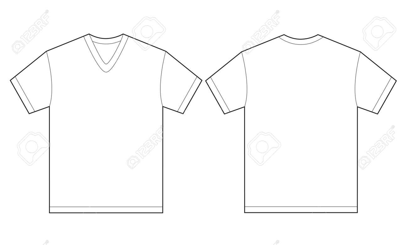 Vektor-Illustration Der Weißen V-Shirt, Isoliert Front Und Rückseite ...