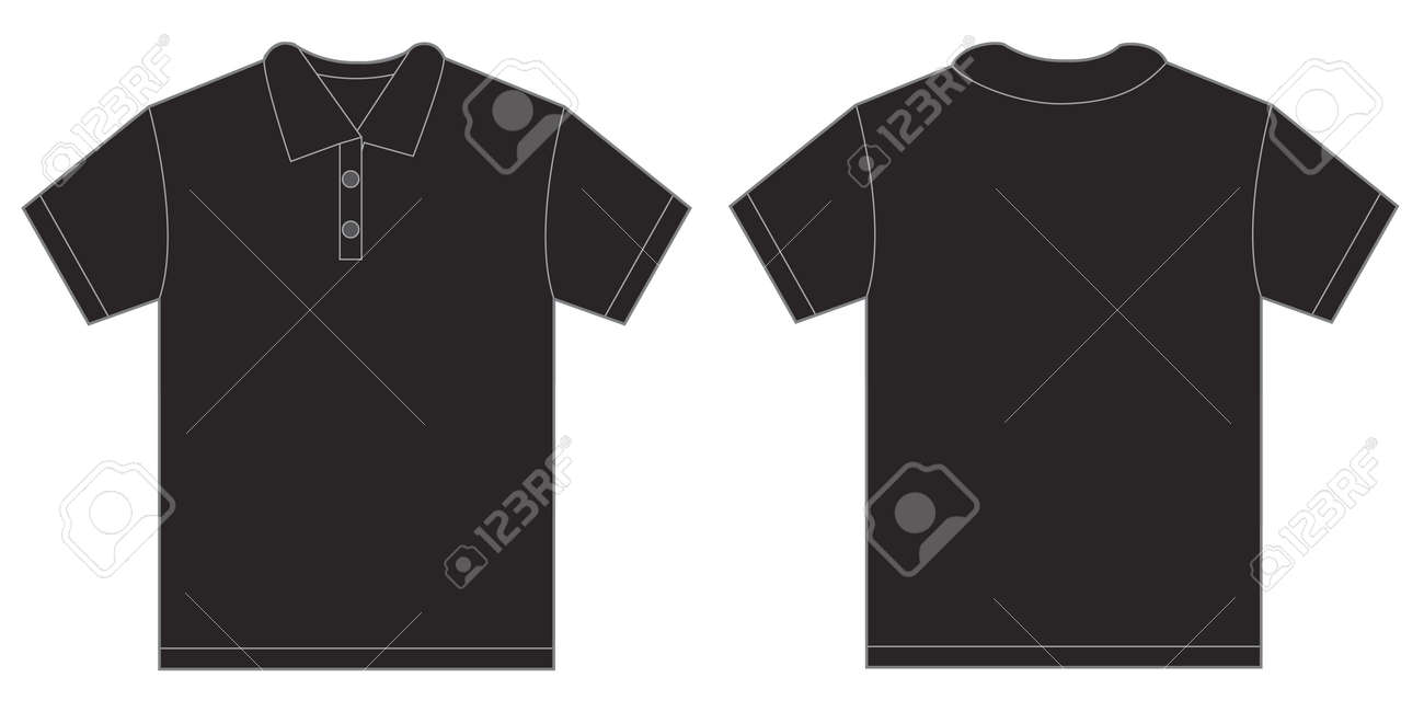 Black t shirt front and back plain - Vector Vector Illustration Of Black Polo Shirt Isolated Front And Back Design Template For Men