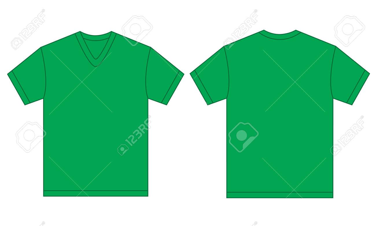 Shirt design green - Vector Vector Illustration Of Green V Neck Shirt Isolated Front And Back Design Template For Men