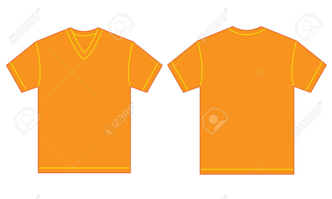 Vector Illustration Of Orange V-neck Shirt, Isolated Front And ...
