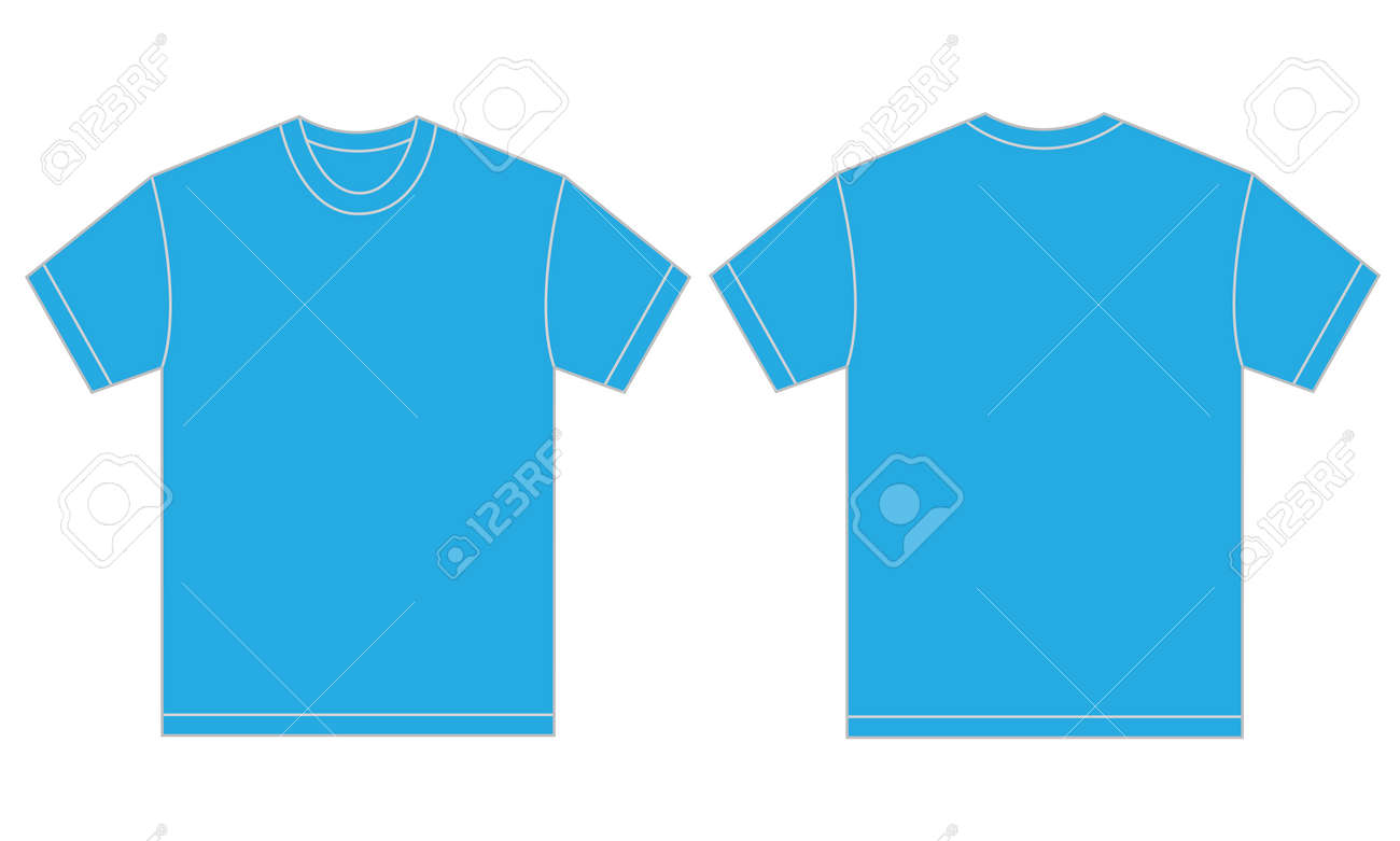 Vector Illustration Of Light Blue Shirt, Isolated Front And Back ...