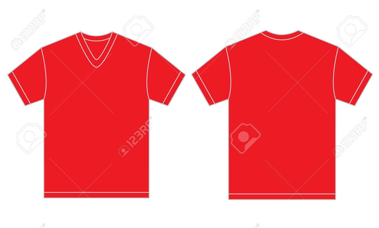 Design shirt v neck - Vector Vector Illustration Of Red V Neck Shirt Isolated Front And Back Design Template For Men