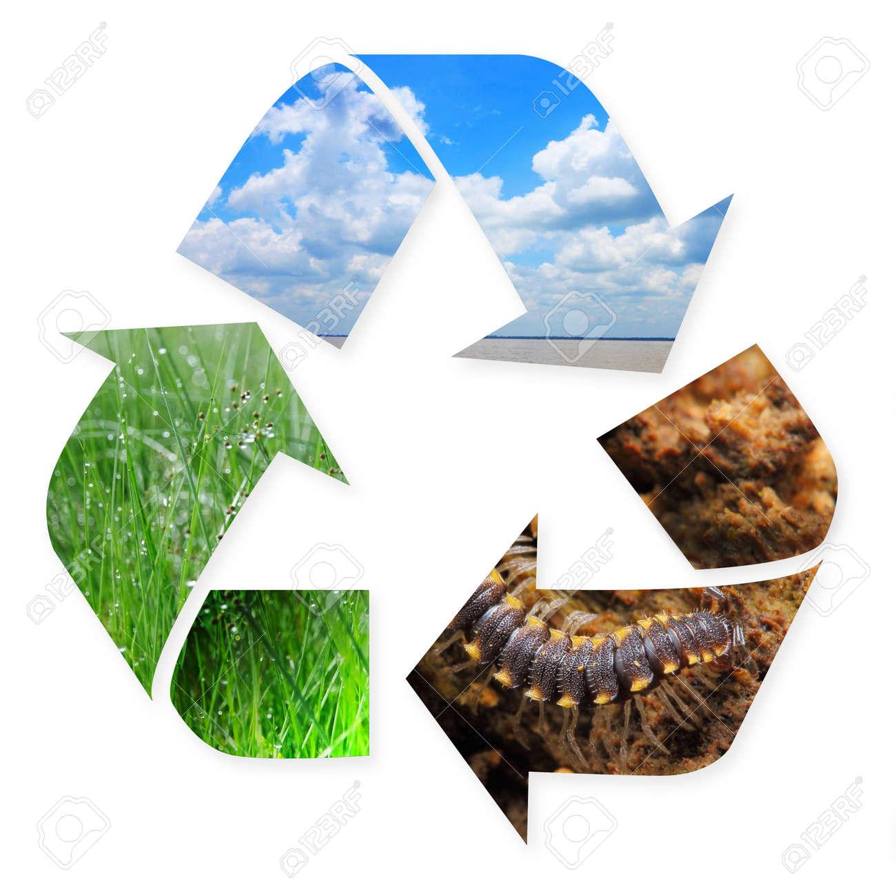 Recycling-Symbol Mit Der Natur Bilder Von Gras, Luft Und Boden In Es ...
