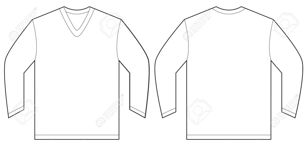Vector Illustration Of White Long Sleeved V-neck Shirt, Isolated ...