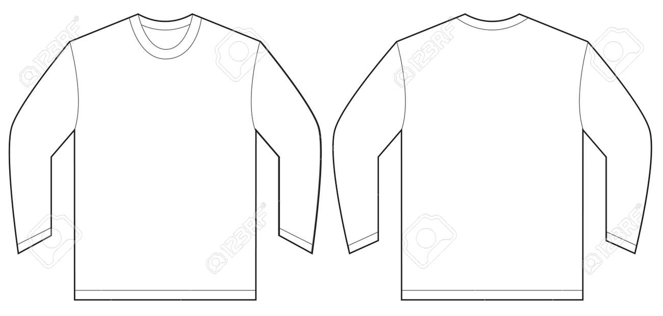 White t shirt front and back template - Vector Illustration Of White Long Sleeved T Shirt Isolated Front And Back Design Template