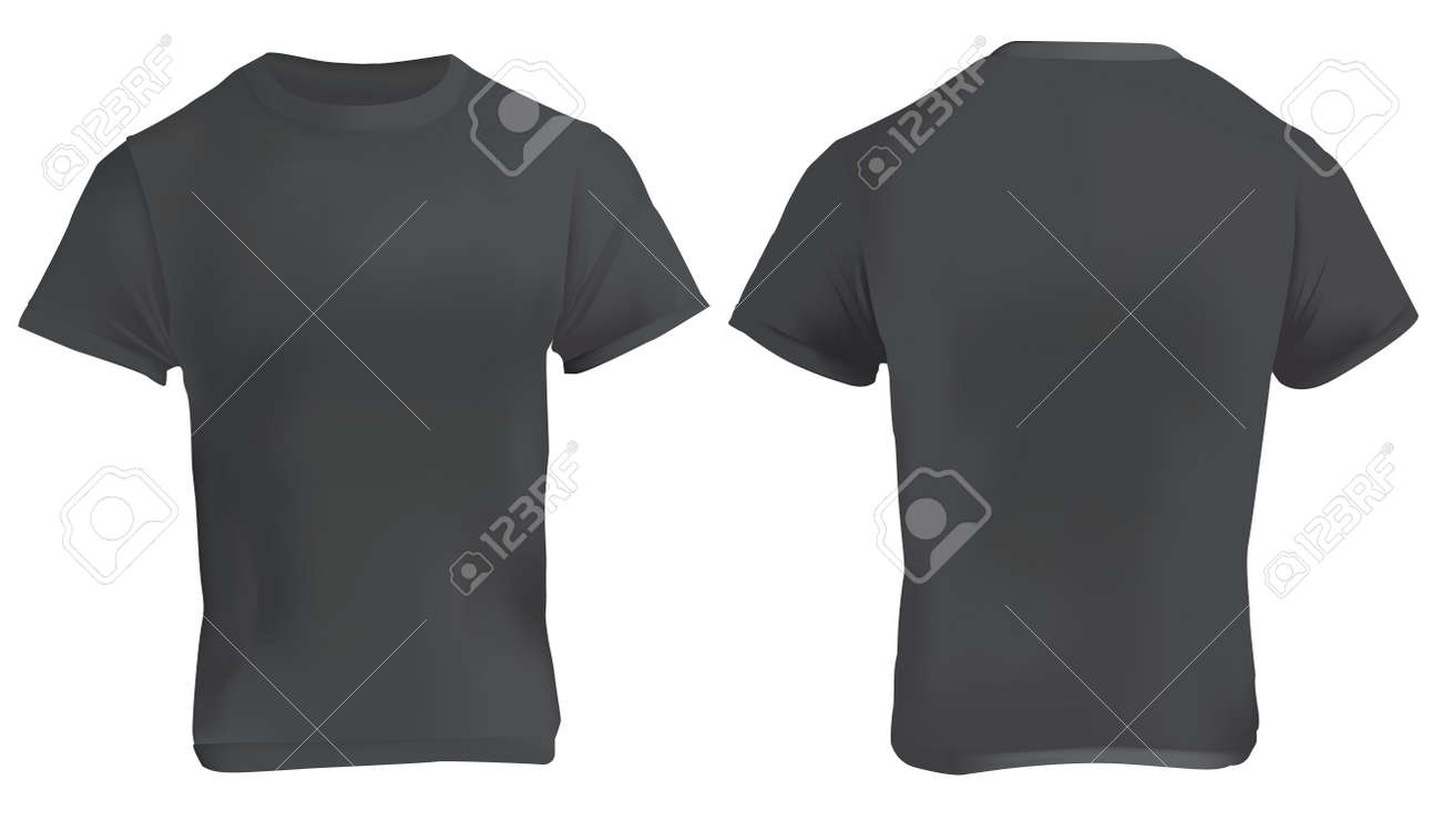Vector Illustration Of Black Blank T Shirt Template Front And
